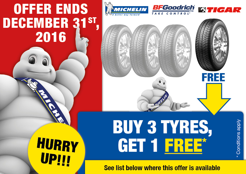 Special offer: Buy 3 tyres, get 1 free.