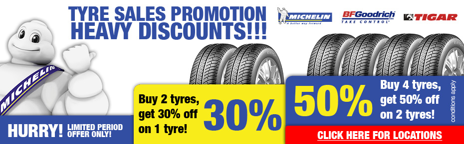 Tyres Special offer.Click here for details and locations.