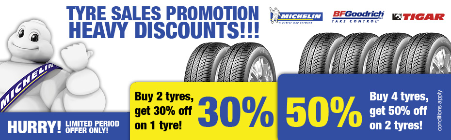 Tyre Sales Promotion - Heavy Discounts - Tyre Service Locations listed below.