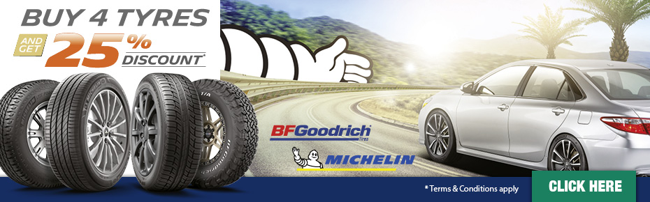 Buy 3 tyres, get one free! Hurry while offer lasts. Conditions apply. Click here for details.