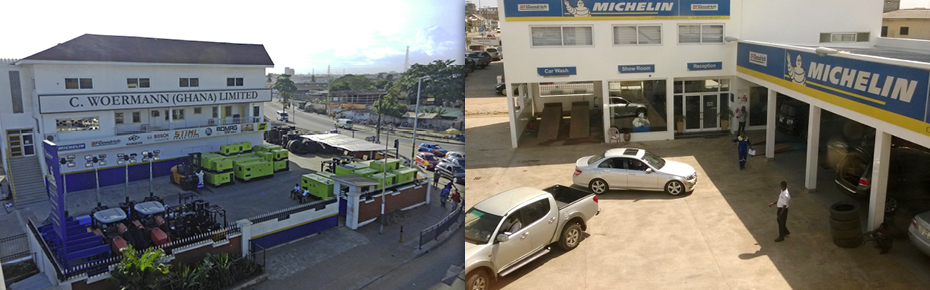C. Woermann in Accra and the modern Michelin Tyre Center
